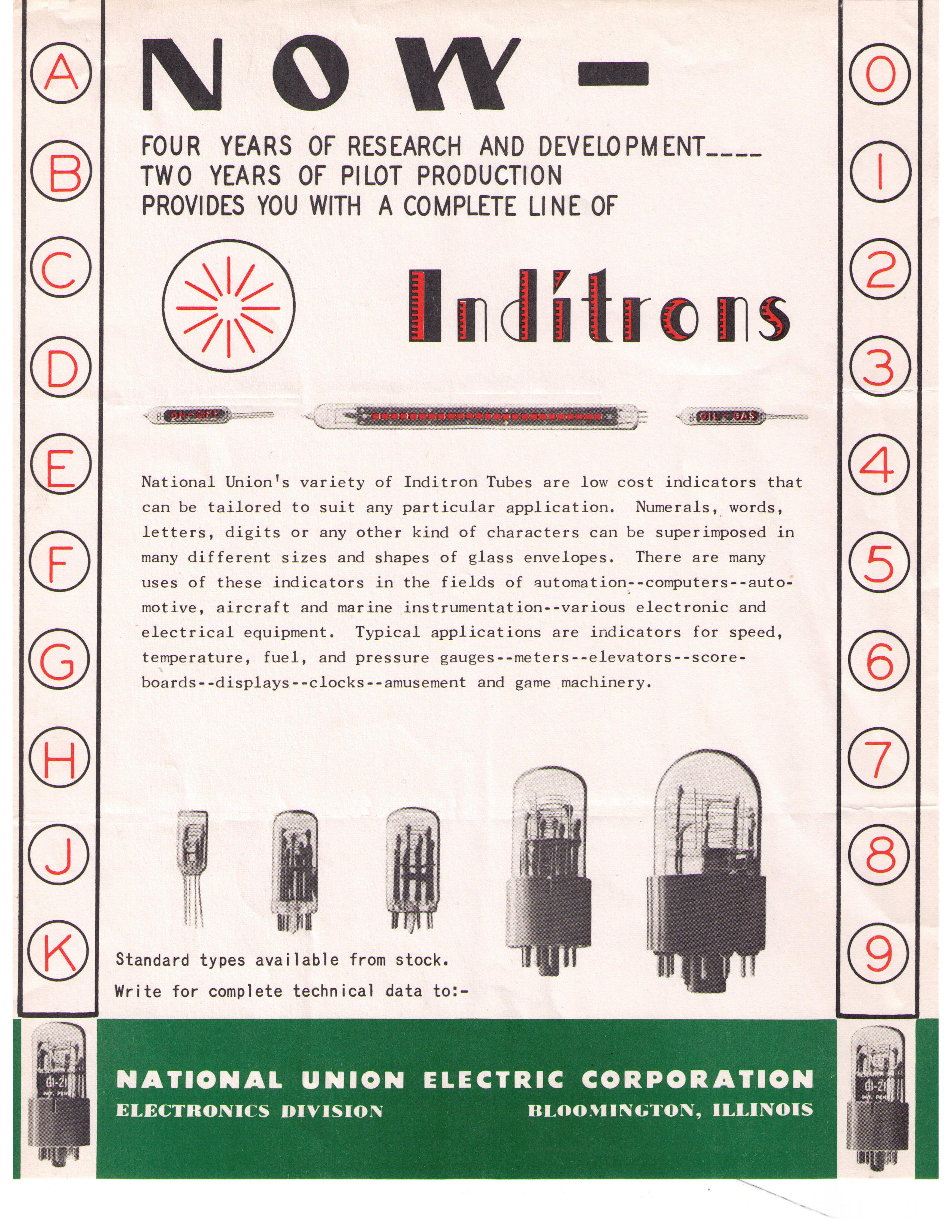 Das Inditron Promo-Sheet von National Union